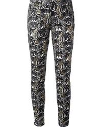 Pantalon slim imprimé blanc et noir Kenzo