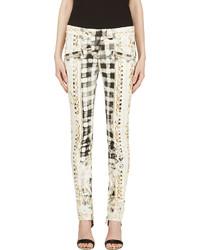 Pantalon slim imprimé blanc