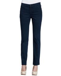 Pantalon slim imprimé bleu marine