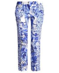 Pantalon slim imprimé bleu Versace