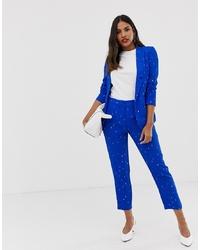 Pantalon slim imprimé bleu Vila