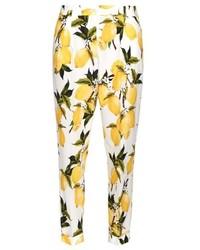 Pantalon slim imprimé jaune