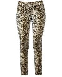 Pantalon slim imprimé léopard marron clair