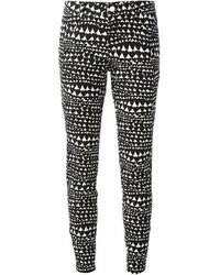 Pantalon slim imprimé noir et blanc Stella McCartney