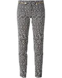 Pantalon slim imprimé noir et blanc Versace