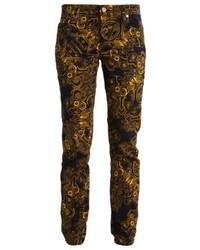 Pantalon slim imprimé noir Versace