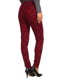 Pantalon slim imprimé rouge