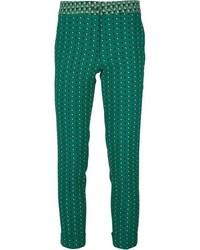 Pantalon slim imprimé vert foncé