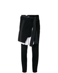 Pantalon slim noir et blanc Sacai