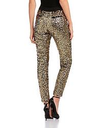 Pantalon slim pailleté doré