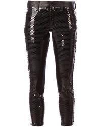 Pantalon slim pailleté noir