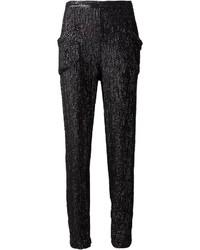 Pantalon slim pailleté noir Le Fleur Du Mal