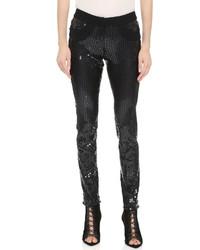 Pantalon slim pailleté noir Vera Wang