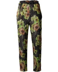 Pantalon style pyjama à fleurs noir Isabel Marant
