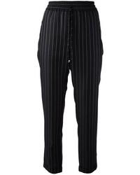 Pantalon style pyjama à rayures verticales noir