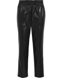 Pantalon style pyjama en cuir noir
