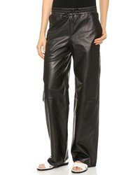 Pantalon style pyjama en cuir noir Alexander Wang
