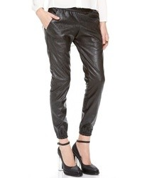 Pantalon style pyjama en cuir noir Heidi Merrick