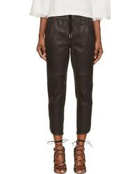 Pantalon style pyjama en cuir noir Isabel Marant