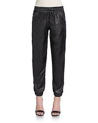 Pantalon style pyjama en cuir noir Saks Fifth Avenue RED