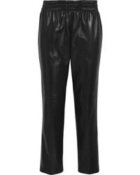 Pantalon style pyjama en cuir noir Valentino