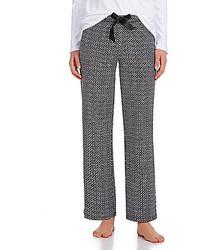 Pantalon style pyjama géométrique noir