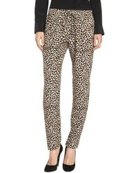 Pantalon style pyjama imprimé léopard marron clair