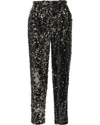 Pantalon style pyjama pailleté noir Milly