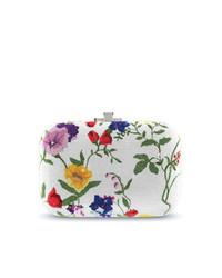 Pochette à fleurs blanche Judith Leiber Couture