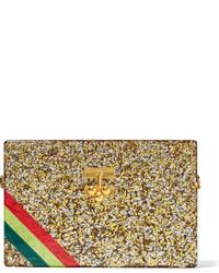 Pochette à rayures horizontales dorée Edie Parker