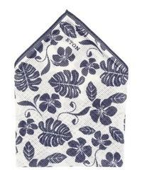 Pochette de costume à fleurs blanche Eton