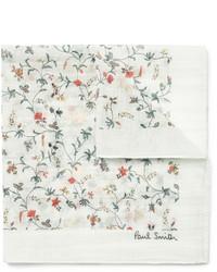 Pochette de costume à fleurs blanche Paul Smith