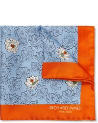 Pochette de costume à fleurs bleu clair Richard James