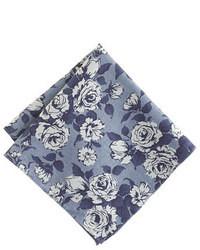 Pochette de costume à fleurs bleu marine