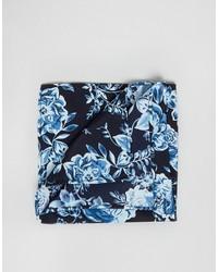 Pochette de costume à fleurs bleu marine Asos