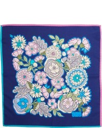 Pochette de costume à fleurs bleue
