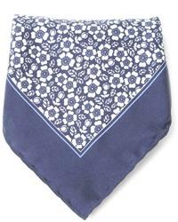 Pochette de costume à fleurs bleue Canali