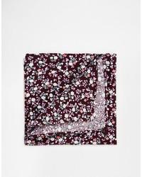 Pochette de costume à fleurs bordeaux Asos