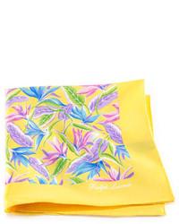 Pochette de costume à fleurs jaune