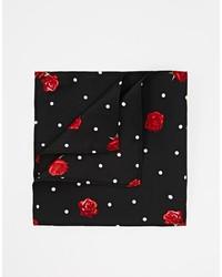Pochette de costume à fleurs noire Asos