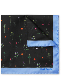 Pochette de costume à fleurs noire Paul Smith