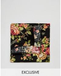 Pochette de costume à fleurs noire Reclaimed Vintage