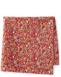 Pochette de costume à fleurs rouge