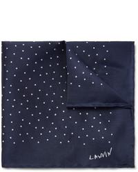 Pochette de costume á pois bleu marine et blanc Lanvin
