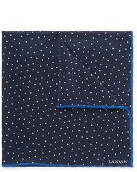 Pochette de costume á pois bleu marine Lanvin