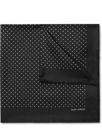 Pochette de costume á pois noire et blanche Saint Laurent