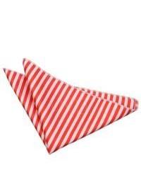 Pochette de costume à rayures horizontales blanc et rouge