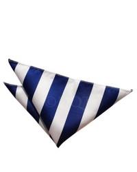 Pochette de costume à rayures verticales blanc et bleu marine