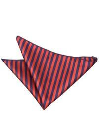 Pochette de costume à rayures verticales rouge et bleu marine