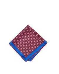 Pochette de costume blanc et rouge et bleu marine